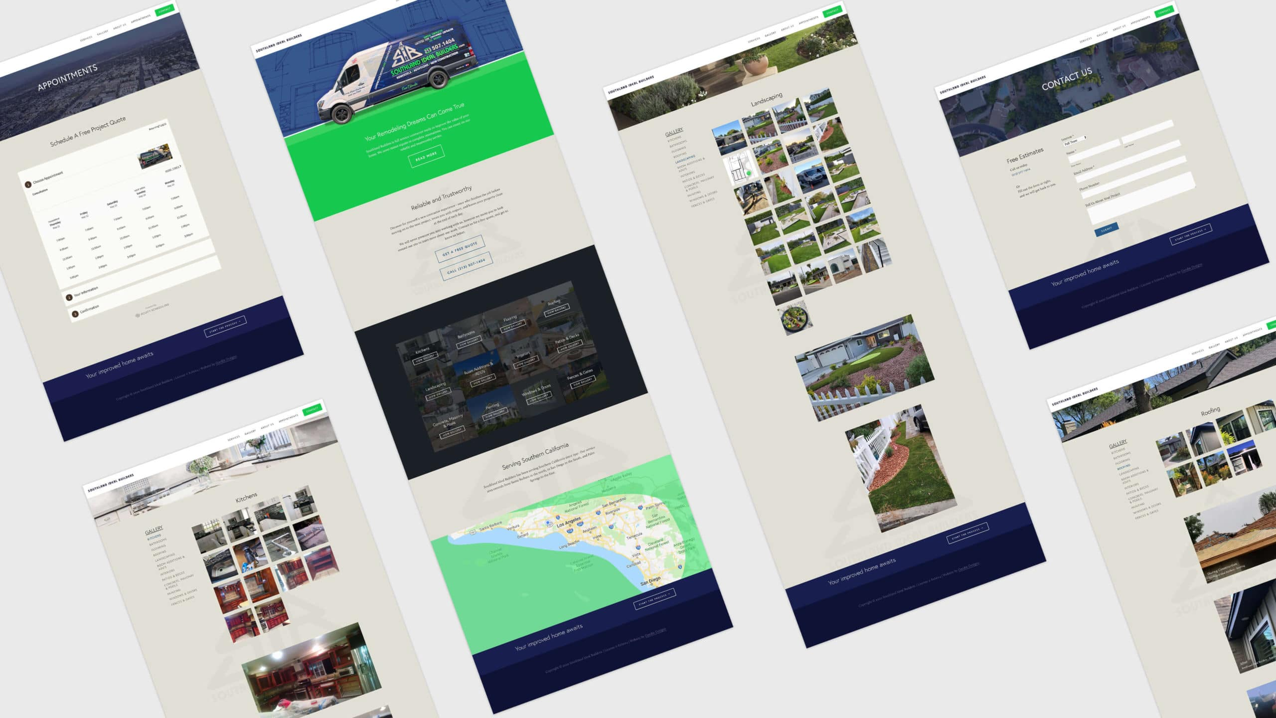 Composite of Southland ideal builders website pages